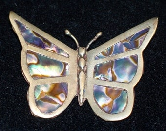 Vintage Sterling Silver with Inlaid Abalone Butterfly Brooch PIn