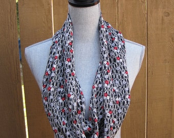 Fabric scarf,  infinity scarf, tube scarf, eternity scarf, loop scarf, long scarf, in black print