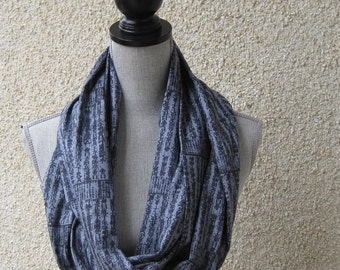 Fabric scarf, Infinity scarf, tube scarf, eternity scarf, loop scarf, long scarf in a print cotton fabric