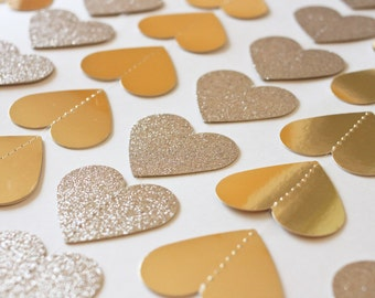 Heart Garland - Gold Glitter and Gold Foil