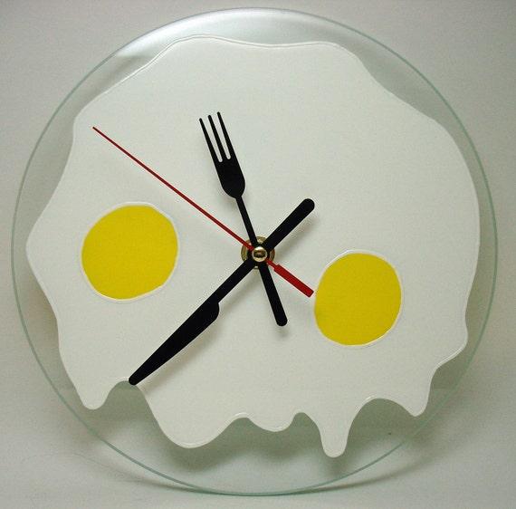 fried eggs silent wall clock kitchen food wall clock hand