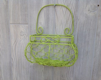 Shabby Chic Wire Basket Cottage Chic Painted Green