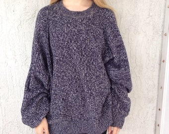 Knitting Patterns For Baggy Sweaters : Vintage blue knit sweater / baggy blue knit sweater