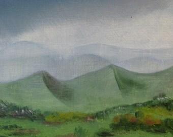 landscape with mist, original oil, 16 x 21 cm, small paint painting nature