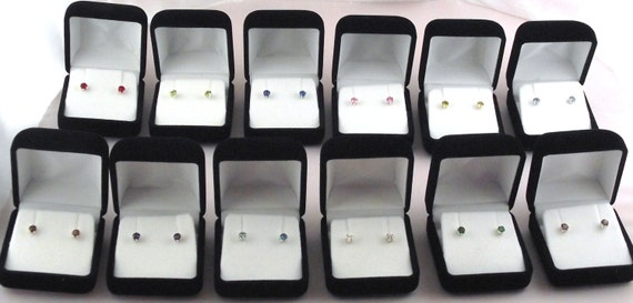 Birthstone Sterling Silver Stud Earrings