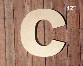 unfinished 12 decorative wooden letter 12 inch capital c uppercase alphabet photo prop nursery wall craft baltic birch wood