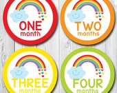 Rainbow Stickers for baby girl, Baby Month Stickers, Rainbow Milestone Labels, Baby Photo Stickers