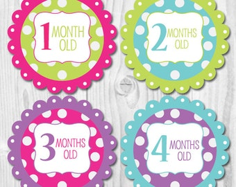 FREE GIFT Baby Monthly Stickers, Stickers for Baby, Neon Bright, Monthly Baby Stickers, Baby Photo Prop, Baby Month Stickers