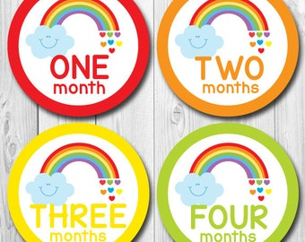 Baby Monthly Stickers, Rainbow Baby Month Stickers, Monthly Stickers, Monthly Baby Stickers, Baby Shower Gift, First Year Stickers, Rainbow