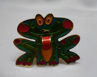 Vintage neon brooch pin enamel frog w/ stuck out tongue aluminum tin pink orange green teal unisex kitsch. Princess and the frog disneybound