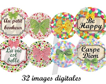 Happy Flowers  - 1 inch circle design for pendant, scrapbooking and bottle cap, printable, slogan, word, label, instant download