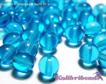 50x Round Glass Beads 6 mm - Aquamarine