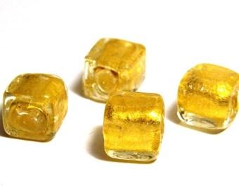 5x Gold Foil Glass Cube Beads 8mm - Light Gold