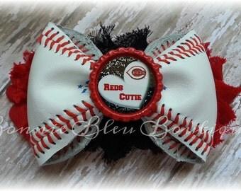Cincinnati REDS Leather Baseball headband/hair clip