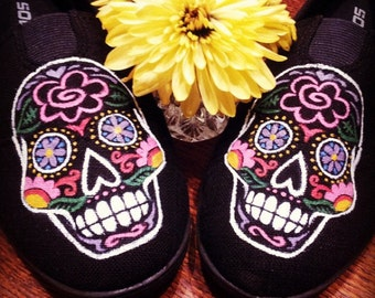 Handpainted Sugar Skull Shoes