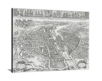 Merian Map of Paris Large Vintage Map Matte Print