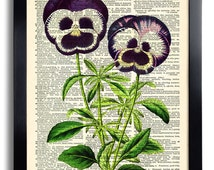 Dictionary Page Collage Repurposed  Flower Violet Art Print Vintage Book Print Recycled Vintage Book Upcycled Dictionary 087