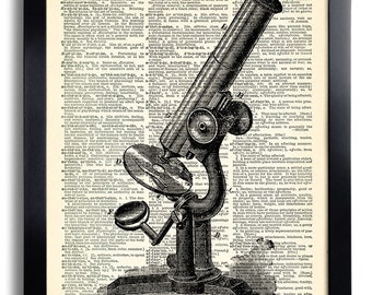 Antique microscope Art Print on Dictionary Page, Bedroom Wall Decoration Poster, Antique Book Print, Gift for Boyfriend, Home Decal 291