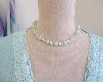Amazonite and pearl necklace with sterling silver bolt ring clasp