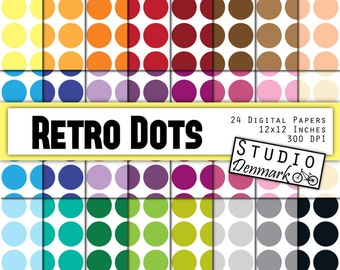 """Polka Dots Digital Paper - """"Retro Dots"""" Large Polkadots 24 Colors - Retro Polka Dots Commercial Use - 12in x 12in - Instant Download"""