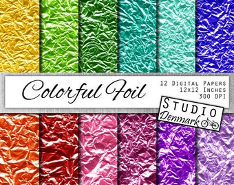 Colorful Foil Digital Paper - Bright Colored Foil Metallic Commercial Use - Crumpled Foil Backgrounds - Instant Download