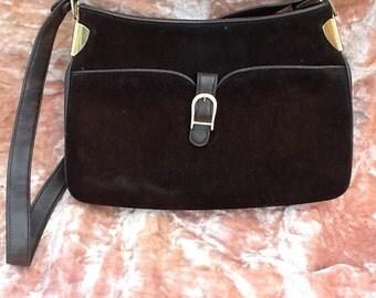 Vintage Mocha Brown Suede Leather Purse Handbag