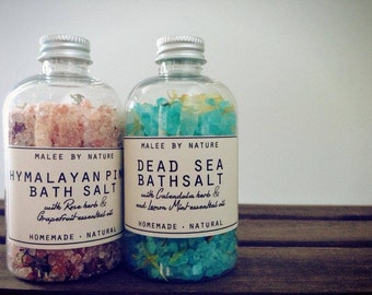 Bath Salt - Himalayan Pink Salt & Dead Sea Salt as a set. Made with Pure essential oil and dried herb. Natural and Organic.