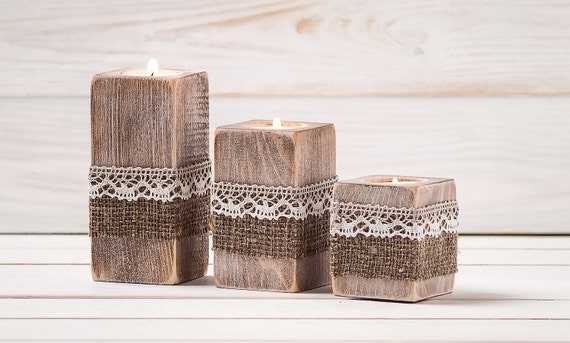 Rustic wedding centerpiece ceremony candles wood candle