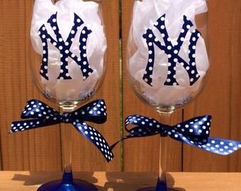 New York Yankees Wine Glass
