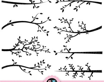 """Branch Silhouettes Clipart """"BRANCH SILHOUETTES"""" clip art pack Tree Branchs,Branchs,Silhouettes,Branch and Leave, Instant Download Pg001"""