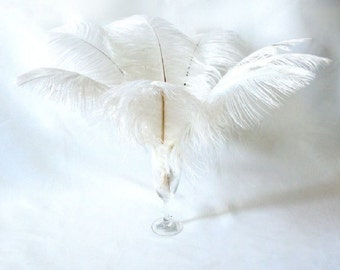 50 Pcs White Ostrich Feather Plume 14-16""