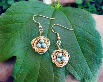 Gold Wire Bird Nest Earrings