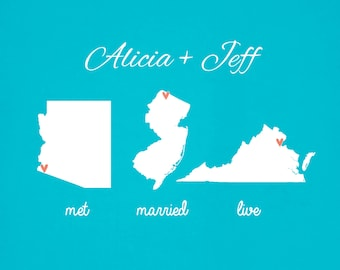Personalized Wedding Met, Married, Live Three States Map Gift For Newlyweds Bride and Groom Best Friend Personalized Art Print Anniversary