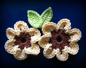 Brown flowers with leaves Crochet Appliqué Pattern 2 Sizes