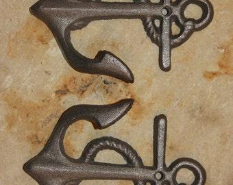 5, Cast Iron Anchor Wall Hooks, Free Shipping, Bathroom hook,Cast Iron Wall Hook, Anchor Hooks, Anchor Decor, Hat hook, towel hook, key hook