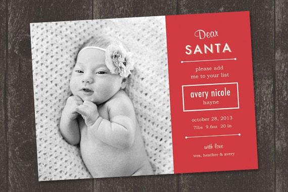 Dear Santa Christmas Birth Announcement Print Ready File – Birth Announcement Card