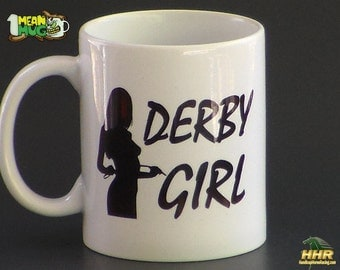 Horse Racing Coffee Mug- Derby Girl with Jockey Whip- Kentucky Derby Party Gift