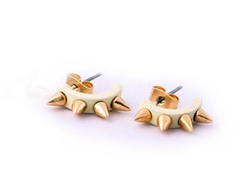 Spike Stud Earrings in White