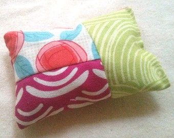 Organic Cotton Catnip Pillow - GOTS certified Organic Cotton -  Pink and green swirl and red flowers