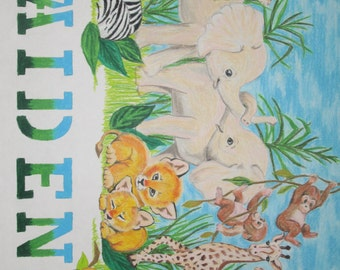 Personalized/Custom Name Baby Zoo Animal colored pencil drawing for nursery or childs room