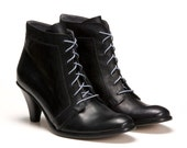 Roxy Womens Black Leather Lace Up Booties Boots High Heels Granny Dress Winter Mary Poppins Footwear Shoes Size 4.5 5 6 7 8 9 10.5 11.5