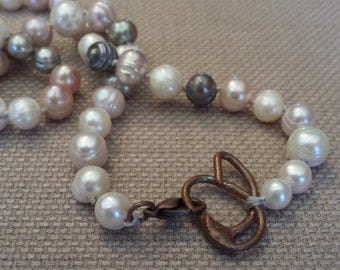 "Unique, hand-knotted, 18"" Freshwater Pearl Necklace in charcoal and blush"