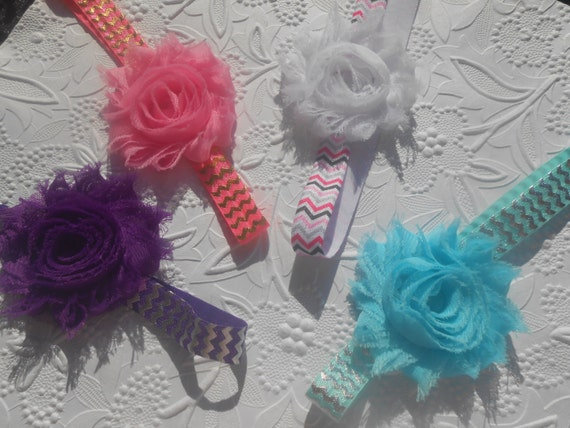Shabby  flower with chevron Baby Headband, Newborn Headband,  Infant Headband,Baby Headband, Headband Baby