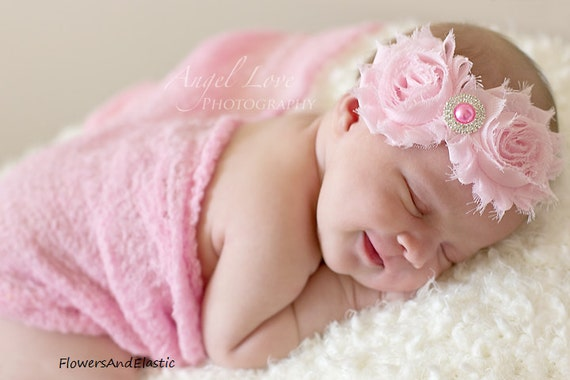 Pink Shabby flower Baby Headband, Newborn Headband,  Infant Headband,Baby Headband, Headband Baby, White Baby Headband