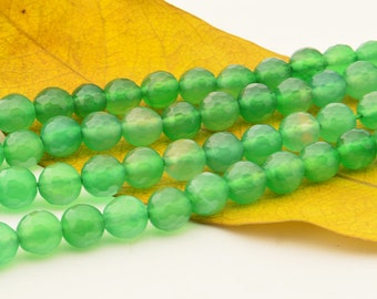 15 INCH Green Agate Gemstone Beads  8MM Faceted Round