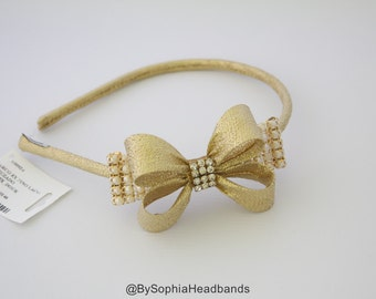 Gold Bow Arch Headband, Girl's Headband, Gold Hard Headband, Gold Hard Headband, Girl Headband, Flower Girl Headband, Bow Hard Headband, 924