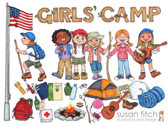 LDS Girls' Camp digital clip art pack including campers