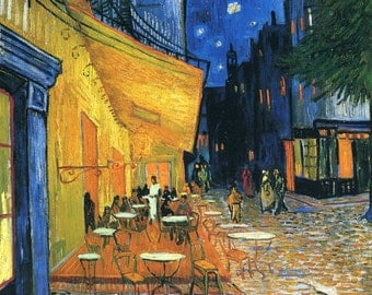 Cafe Terrace At Night by Vincent Van Gogh, in various sizes, Giclee Canvas Print