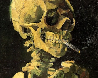 Skull With Burning Cigarette by Vincent Van Gogh, Giclee Canvas Print