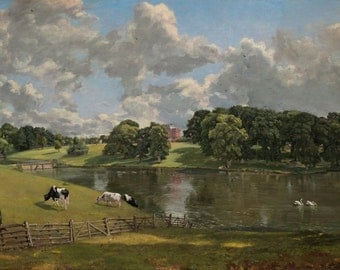"Wivenhoe Park by John Constable,12""x22"", Matte Canvas Giclee Print"